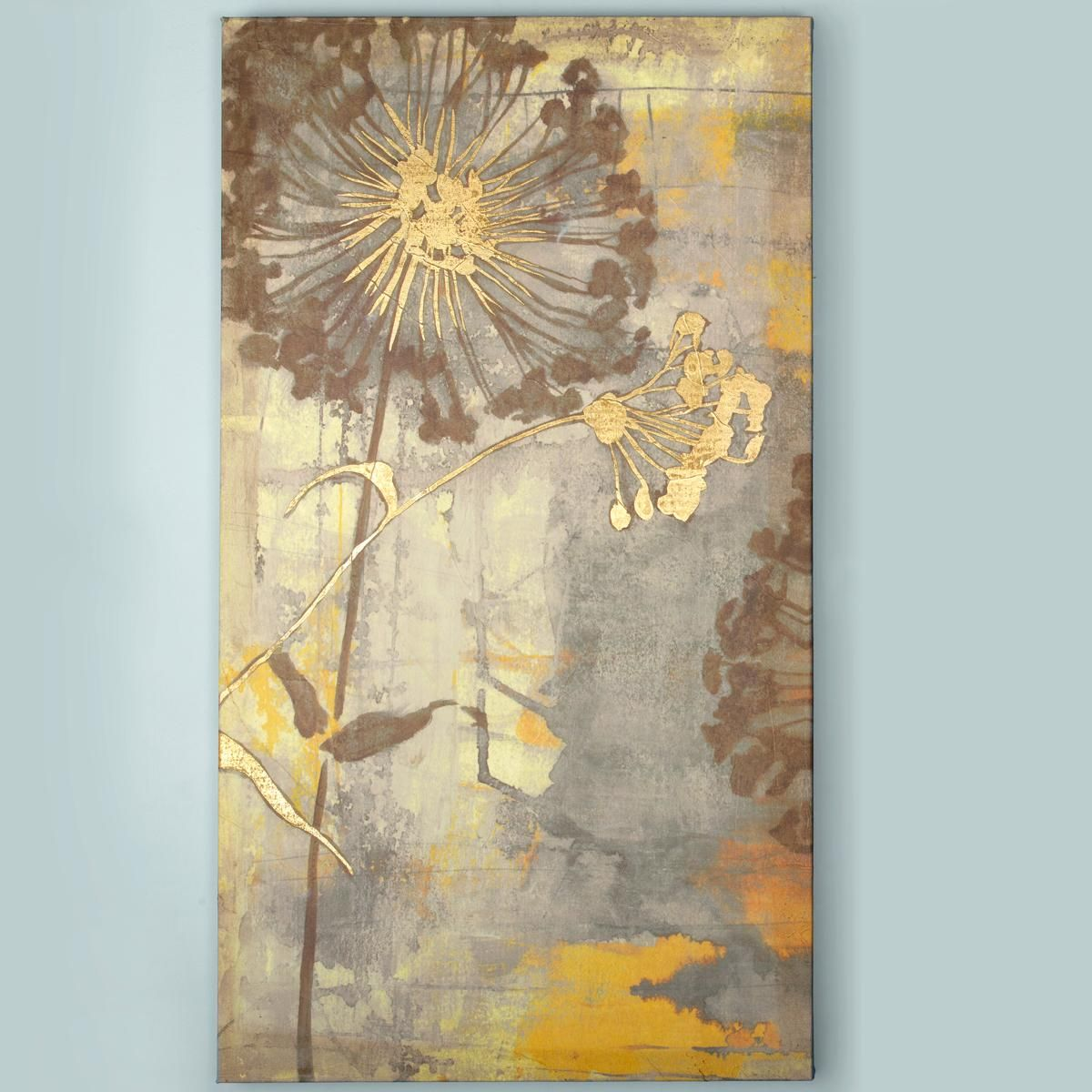 36x20 gilded botanical composition stretched canvas wall for Gold paintings on canvas