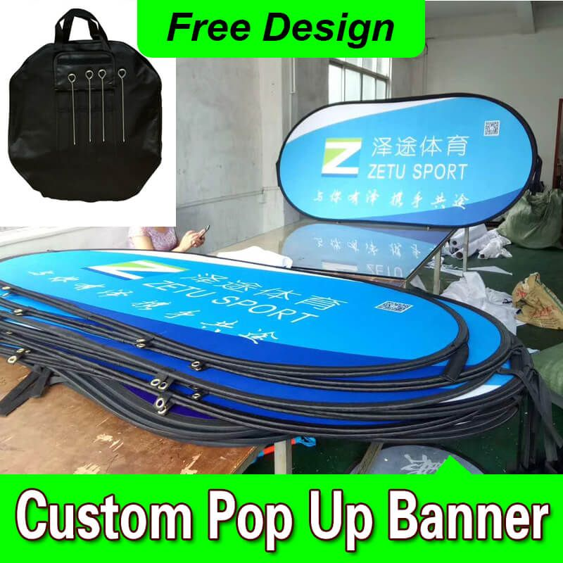 Free Design Custom Color Logo Text A Frame Banner Pop up Pop Out A Frame Sideline Banner Signs
