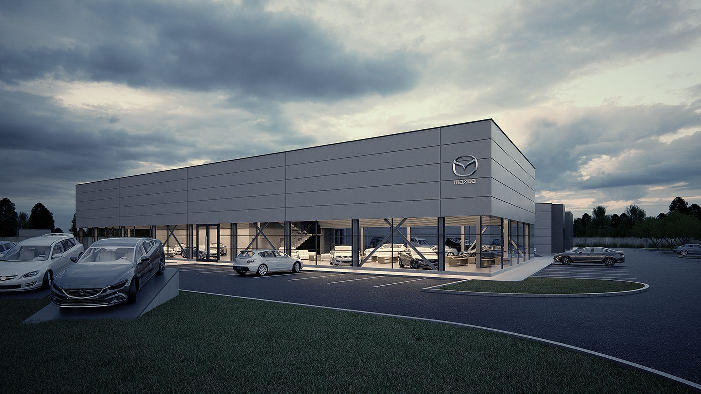 Car showroom on Behance 建築, 建築物