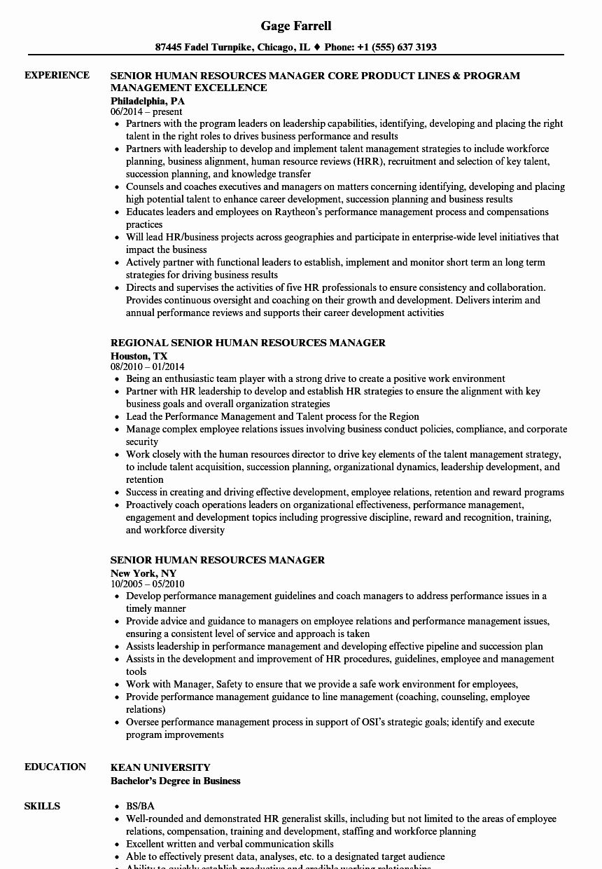 Human Resource Generalist Resume Fresh Senior Human