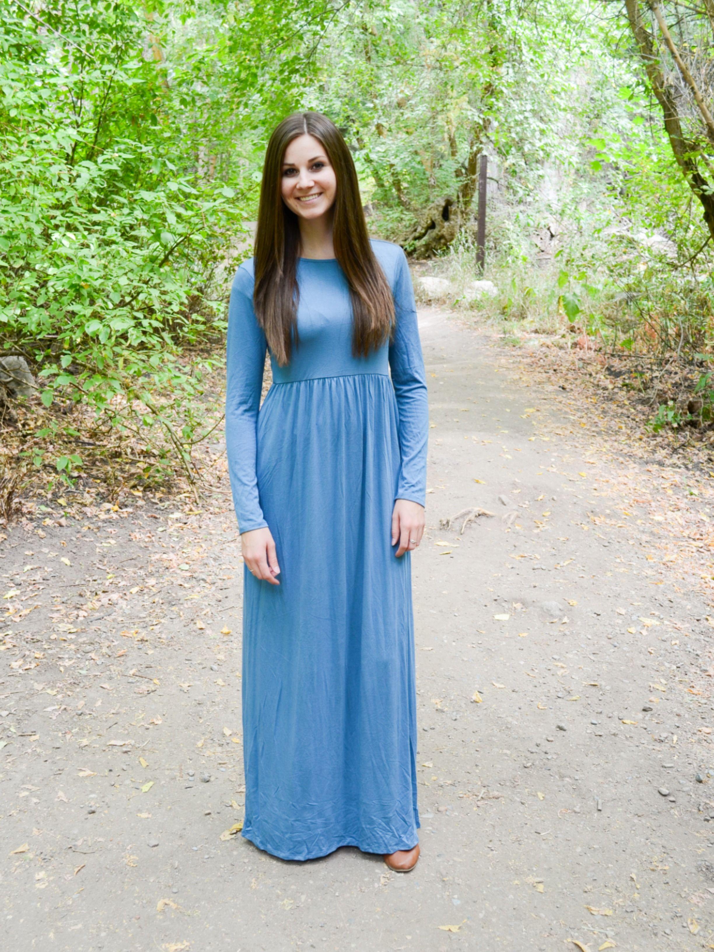Long Sleeve Maxi Dress With Pockets Modelos [ 3264 x 2448 Pixel ]