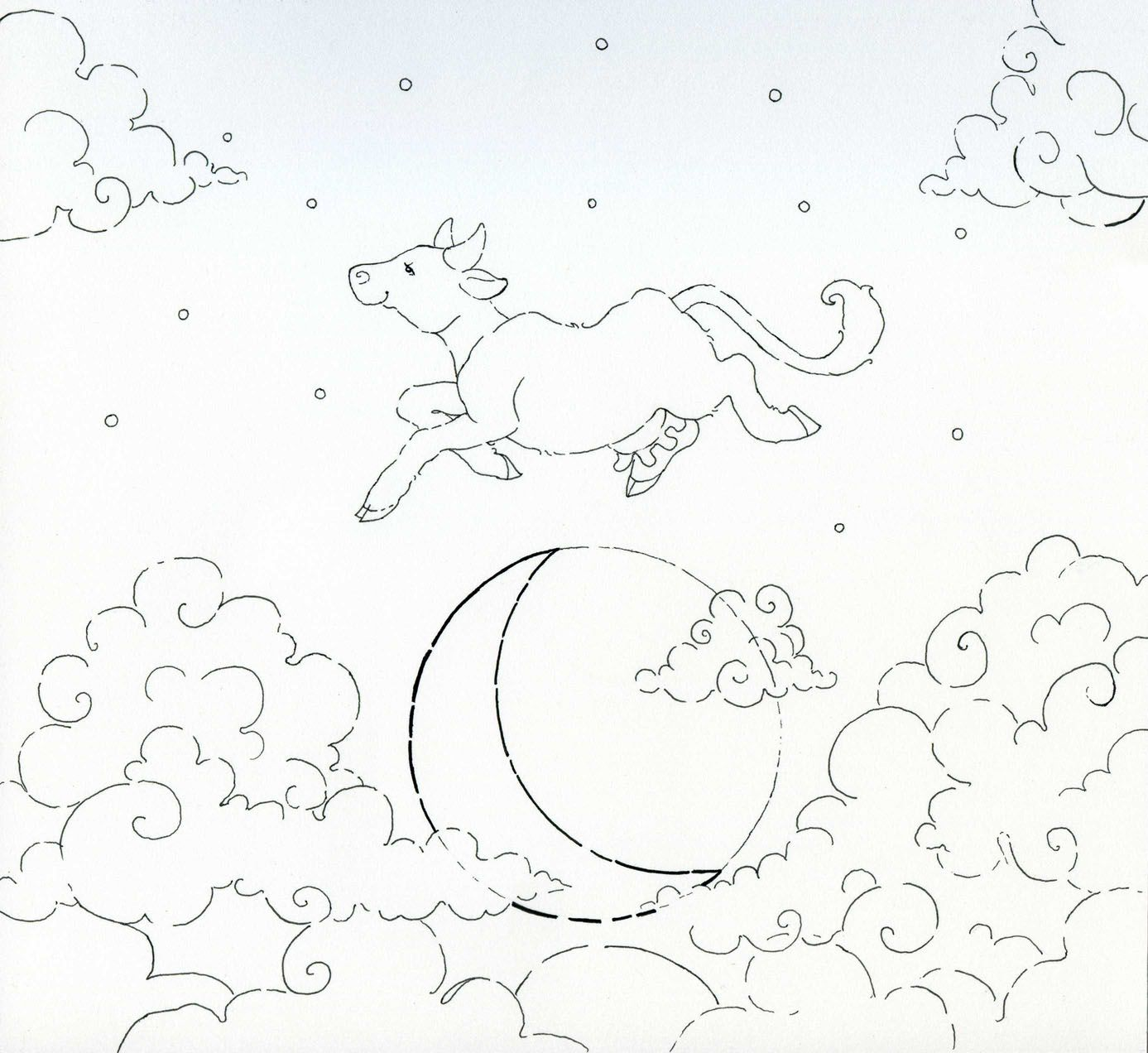 48++ Cow jumped over the moon coloring page download HD