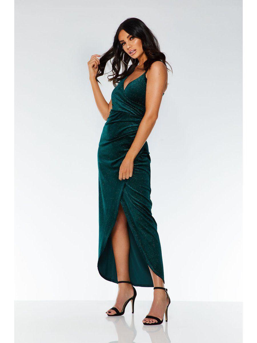 4f1fc85c2b4 Bottle Green Glitter Velvet Wrap Dress - Quiz Clothing