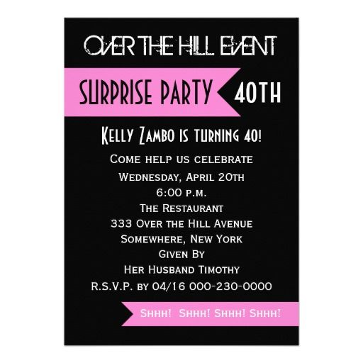 Cool Surprise 40th Birthday Party Invitations Wording