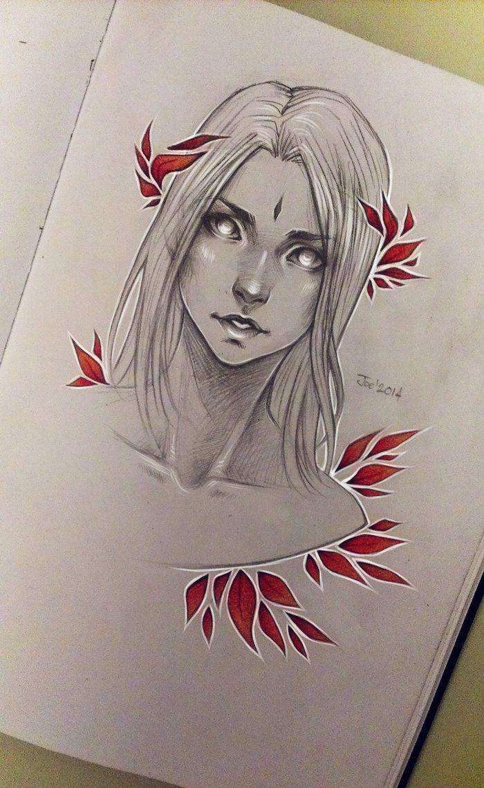 Red leaves by sashajoe on deviantart character drawing
