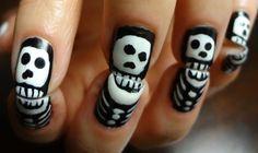 Skeleton Halloween Nail Designs