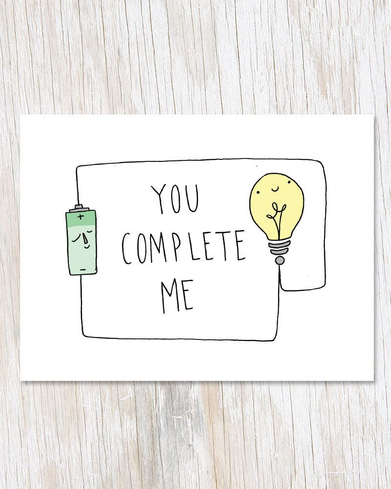 You Complete Me Greetings Card, Physics Electricity Blank