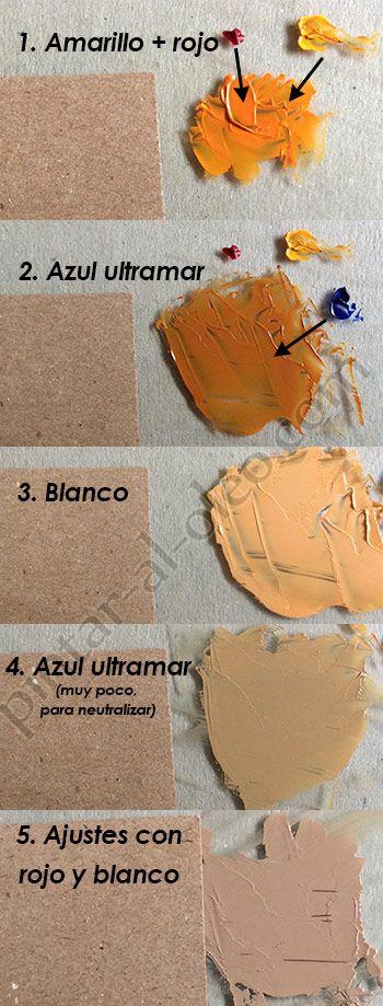 Formar color caf claro o marr n claro con pinturas - Tonos de pintura ...