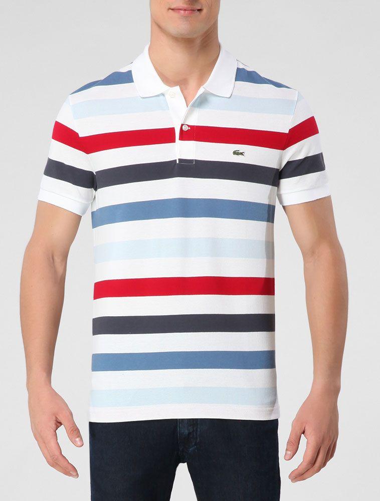 Polo Lacoste Branco   Vermelho - Glamour   camiseta masculina ... 2ad5702f8f