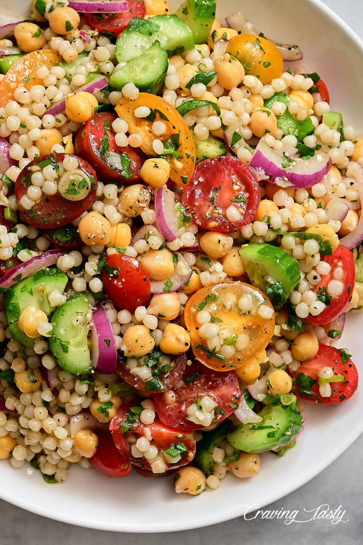 Israeli Couscous Salad Made With Israeli Couscous Also Known As Pearl Or Gourmet Couscous The Bigger V Couscous Recipes Couscous Salad Recipes Gourmet Salad
