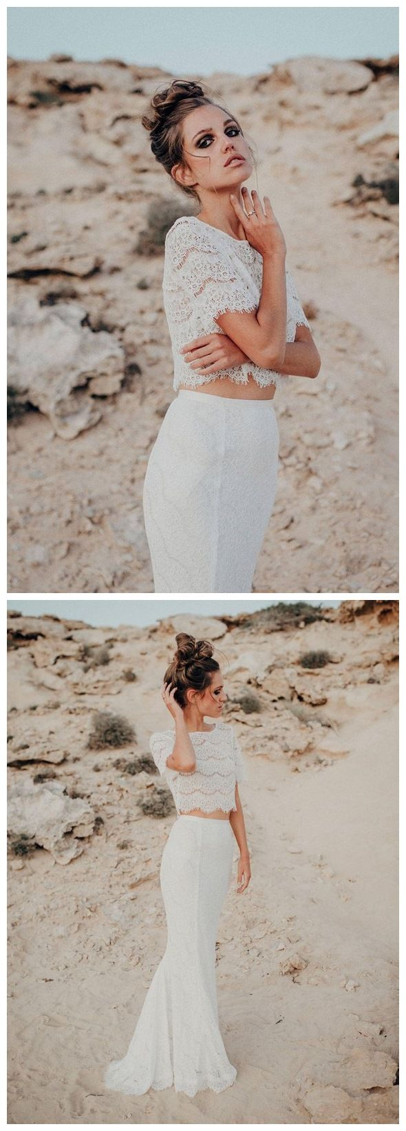 Two piece mermaid wedding dresses short sleeve lace beach wedding