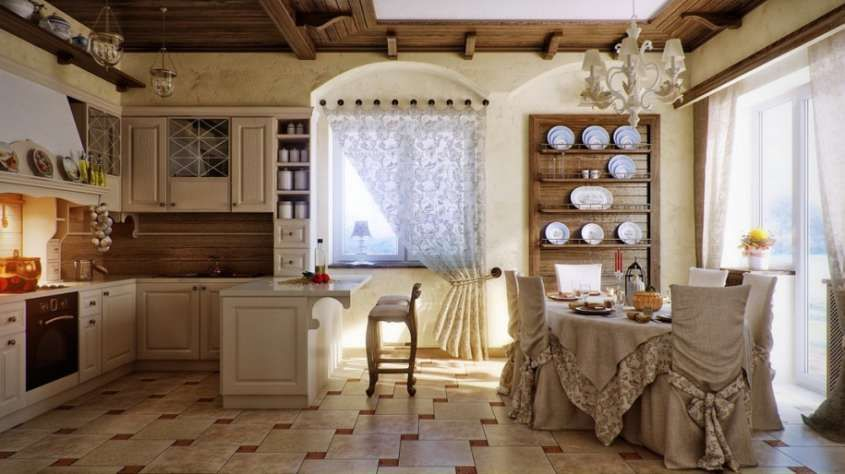 Cucine stile country - Cucina country, tenda bianca | Stiles ...