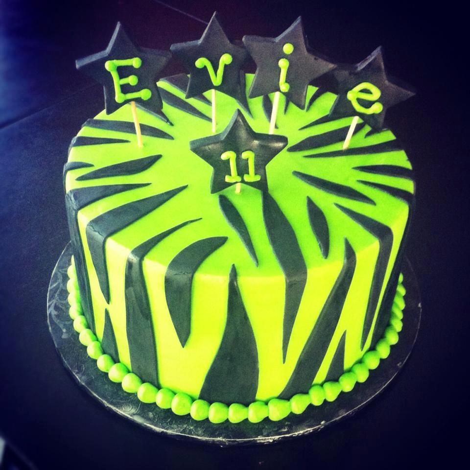Zebra Print birthday cake by Sweeten Up Bake Shop Austin Cedar