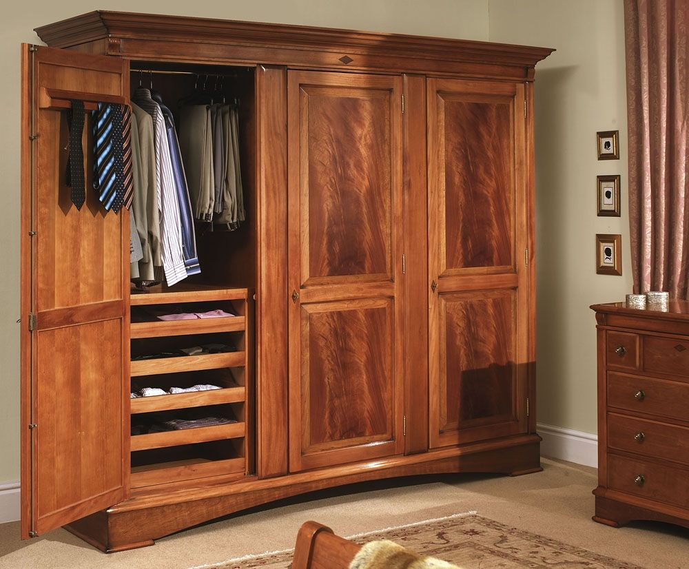 Collections U003e Trafalgar Bedroom Large Cherry Wood 3 Door Wardrobe Portable Cedar Closet