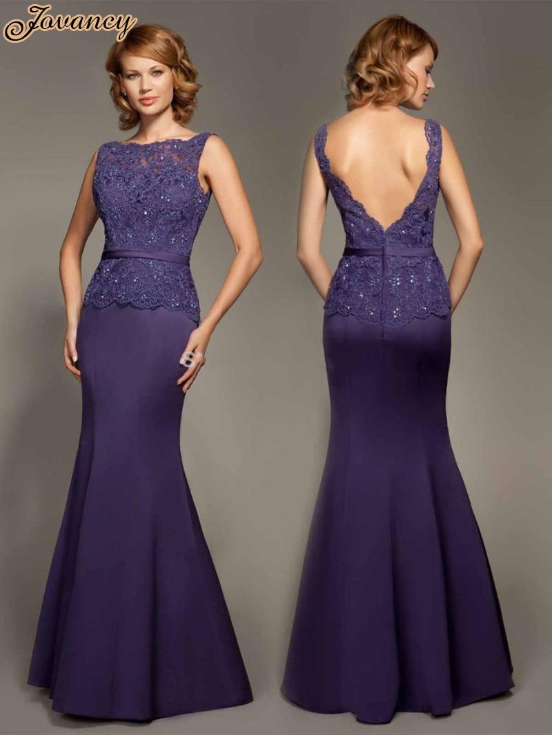 Modest Purple Lace Boat Neck Sleeveless Satin Floor Length Mermaid ...