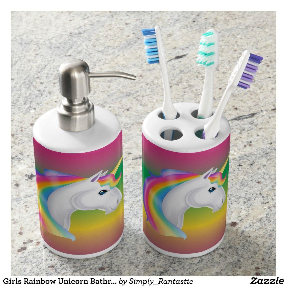 Girls Rainbow Unicorn Bathroom Set  Zazzle.com  Bath accessories