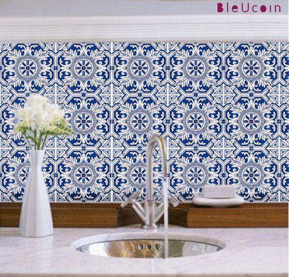 Bleucoin Tile Decal Backsplash: Kitchen Bathroom Backsplash Wall/ Tile/ Floor/ Stair