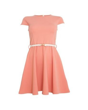 Te Amo Coral Ribbed Belted Skater Dress By Te Amo Fashion