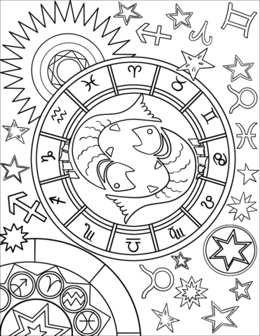 Pattern For Coloring Book. Hand Drawn Line Flowers Art Of Zodiac ... | 480x371