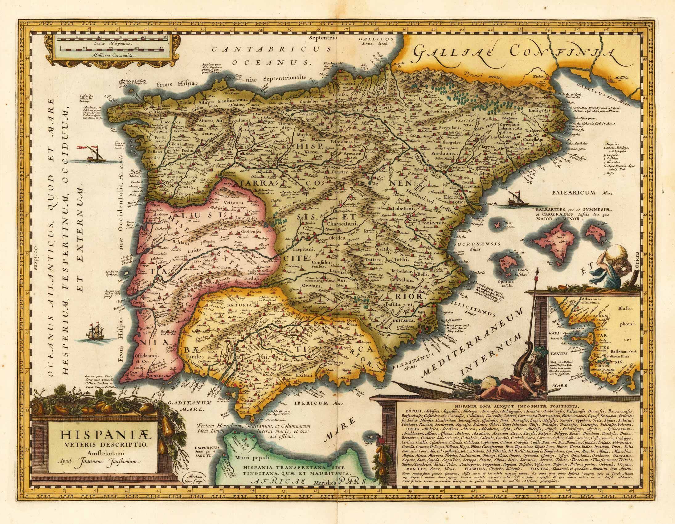 Map 24 Spain.Antique Map Of Spain And Prtual Joan Janssonius 1650 Maps Map