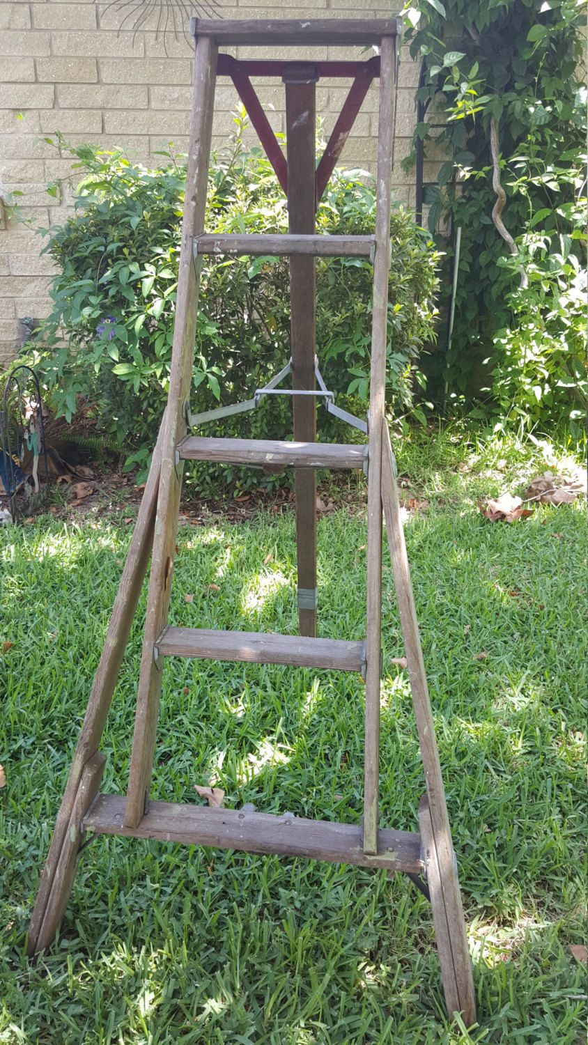 Antique Tripod 5 Legs Wooden Folding Ladder Apple Fruit Picking Orchard W Red Paint Wood Upstate New York By Mycooldigs On Etsy Red Paint Ladder Decor Ladder