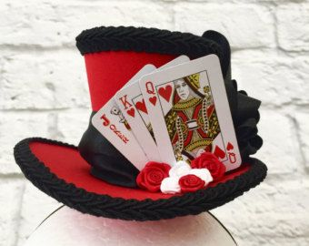 halloween Mini top hat with lights queen of hearts steampunk valentine/'s day Alice in Wonderland