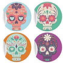 24 coole mexikanische Sugar Skull Aufkleber (ø 45mm; 6 x 4 Motive)