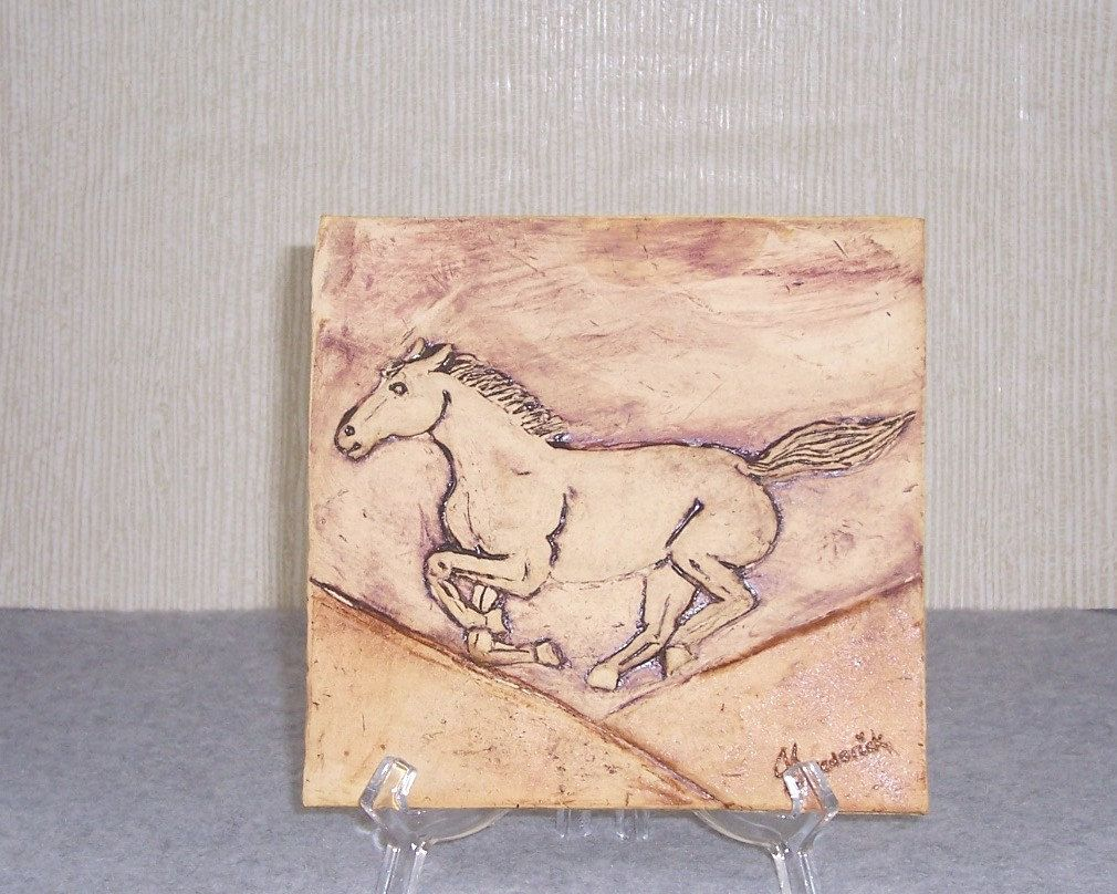 Ceramic Horse Tile Carved Bas Relief Style by