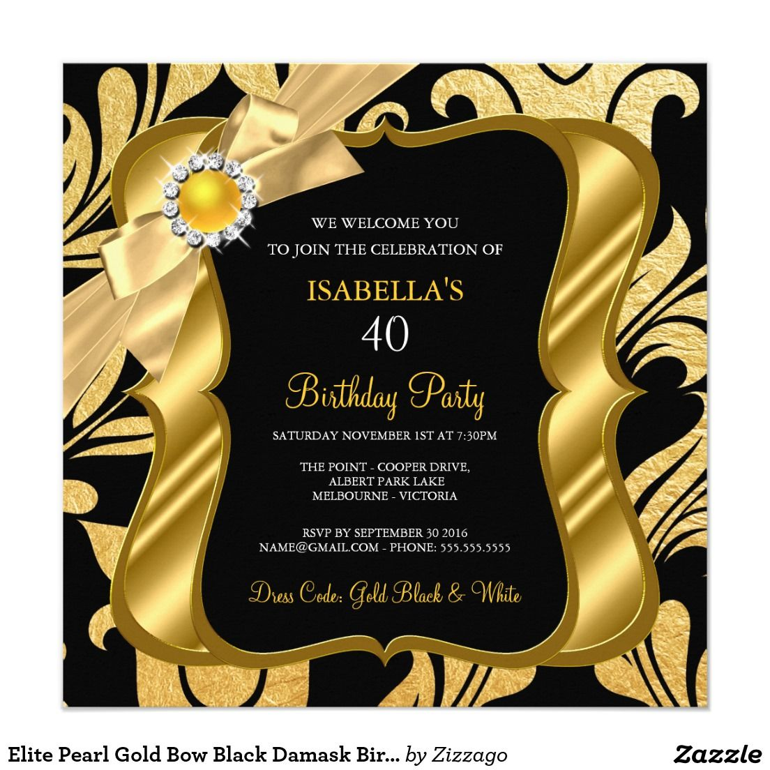 Elite Pearl Gold Bow Black Damask Birthday Invite | Damasks ...