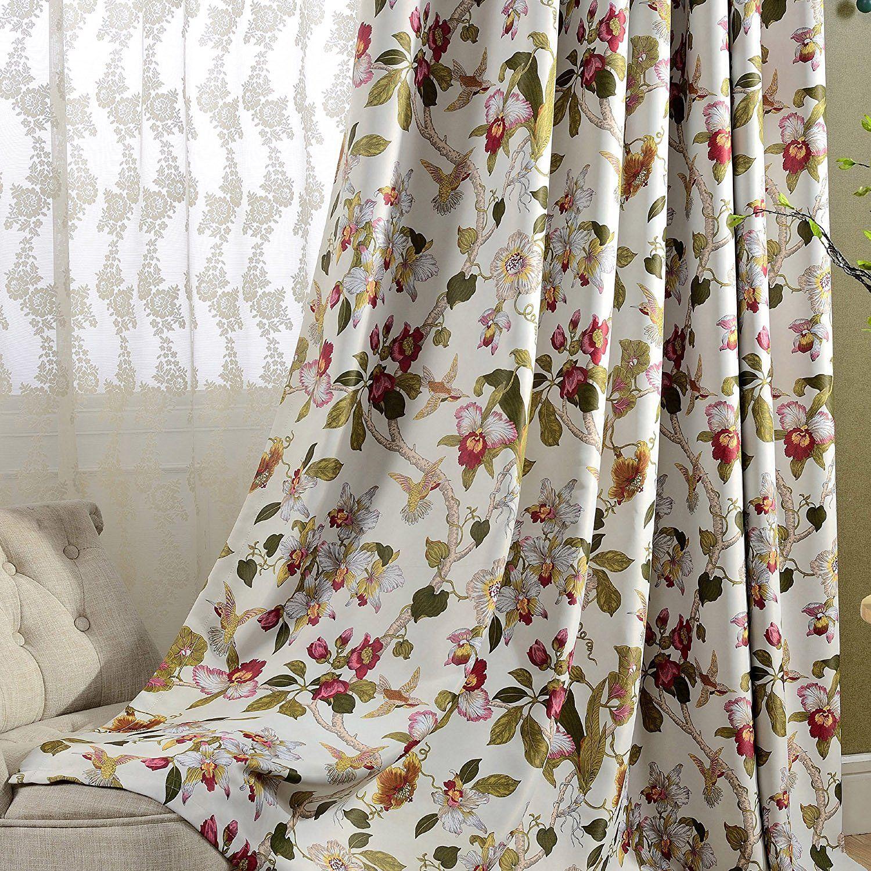 Fine Amazon Com Flower Curtain Blackout Bedroom Drapes Anady Download Free Architecture Designs Intelgarnamadebymaigaardcom