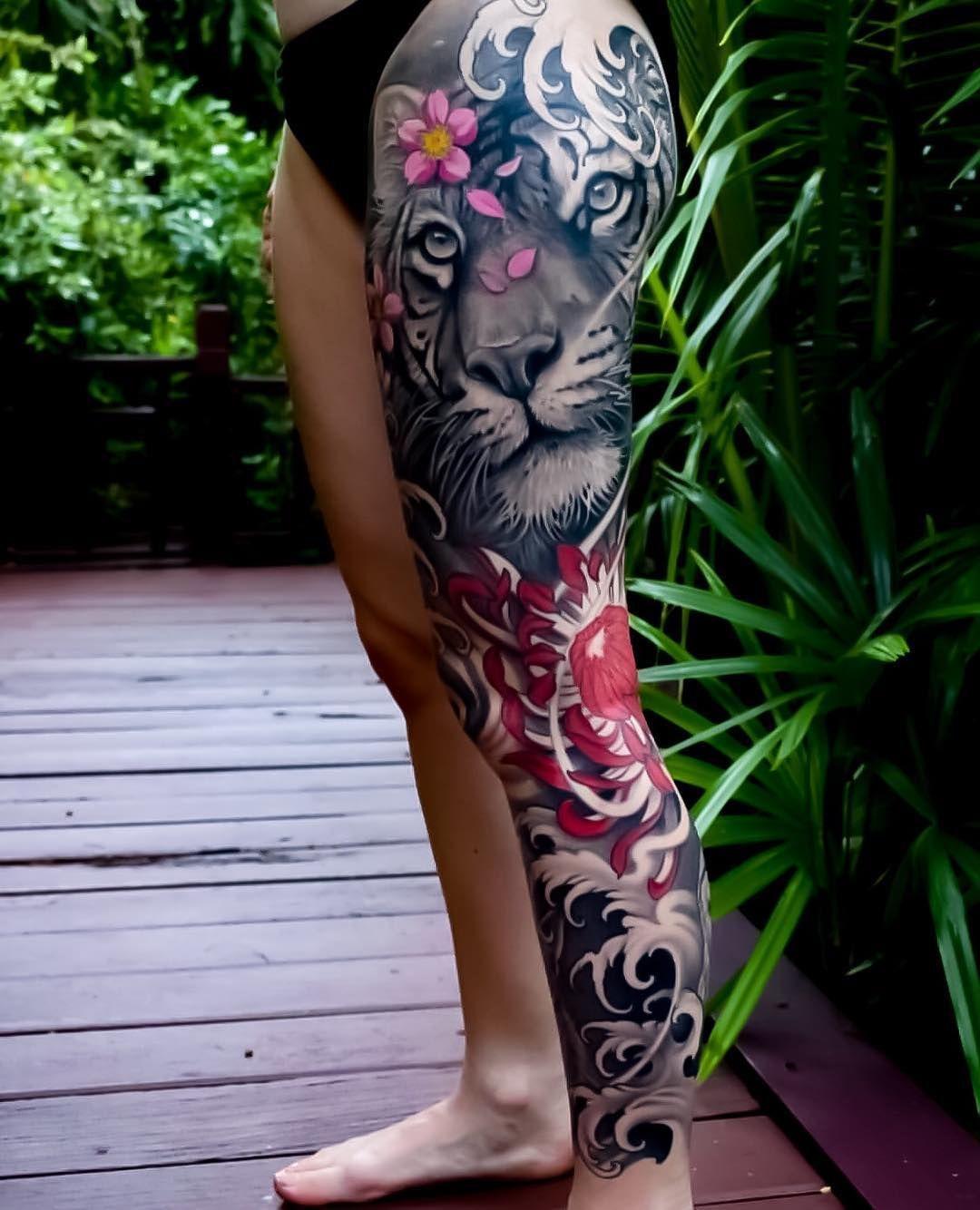 "Japanese Ink on Instagram: ""Japanese leg-sleeve tattoo by @eviltwinsjohan.  #japaneseink #japanesetattoo #irezumi #tebori #colortattoo #colorfultattoo #cooltattoo…"""