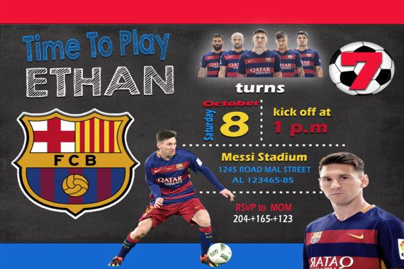 Digital invitation for FC Barcelona Soccer Messi Birthday. 3b68474cbf9