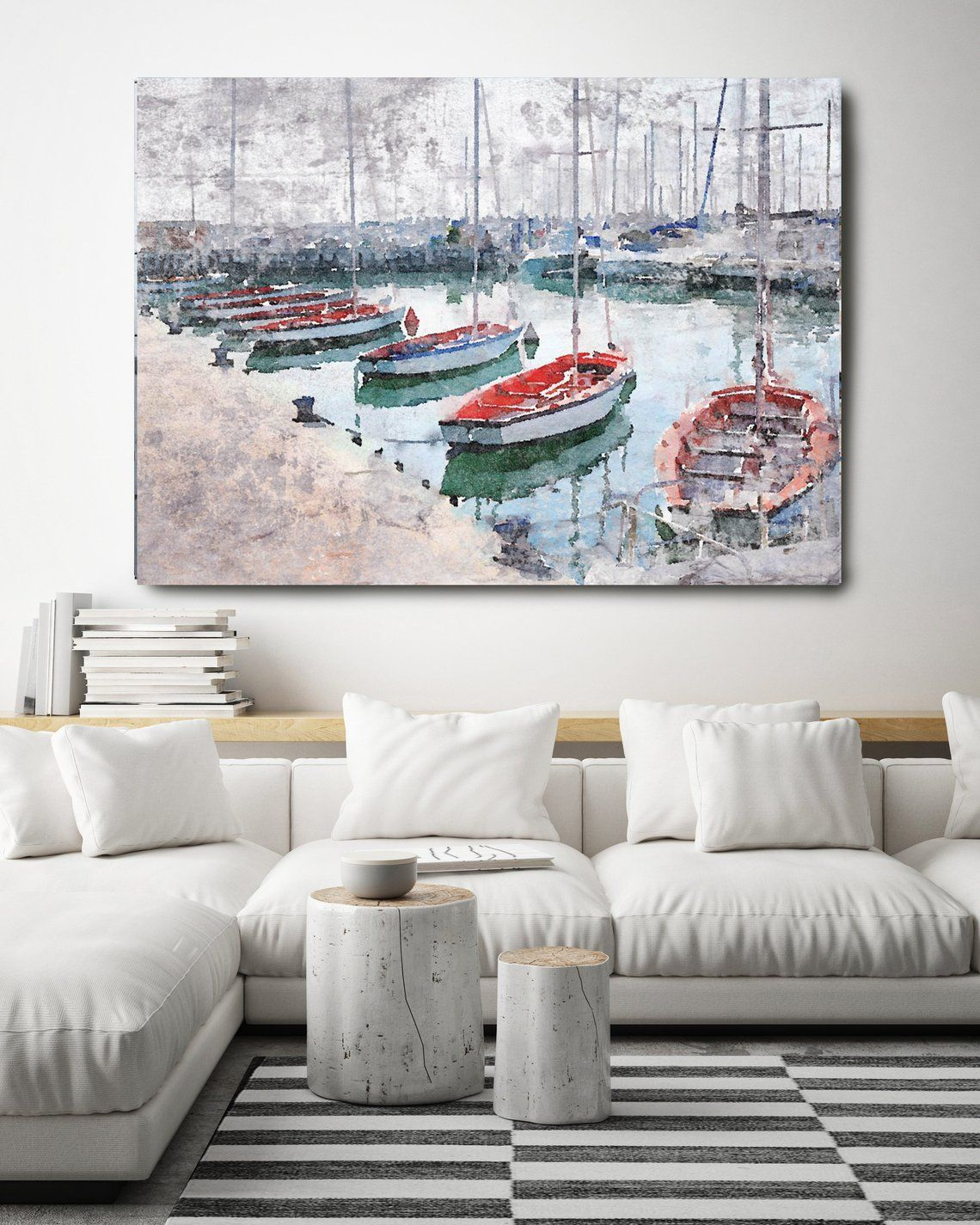 Newport Marina, Beach Decor, Rustic Seascape, Coastal Wall Canvas Art, Grey Red & White, Sea ...