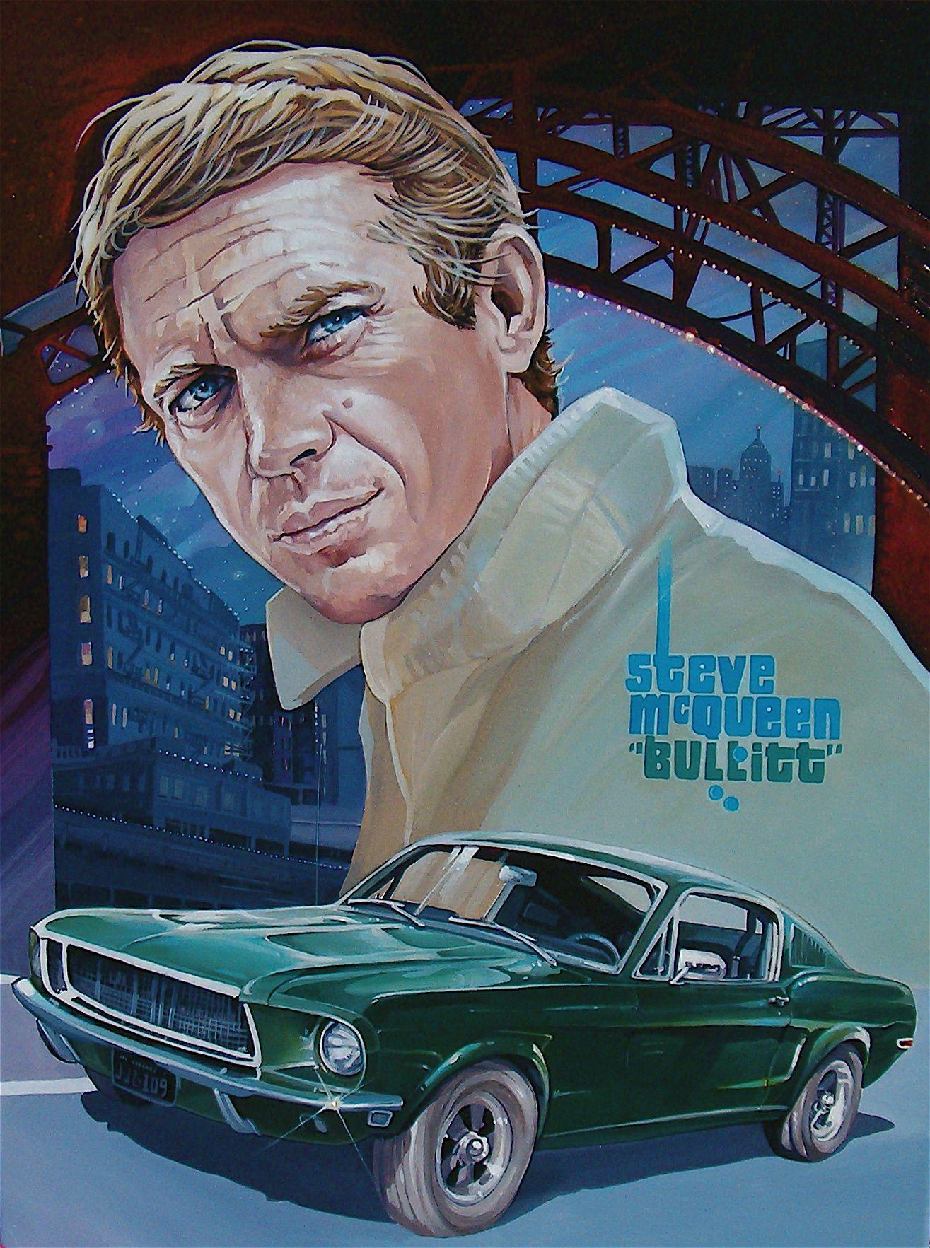 Home gt steve mcqueen porsche paintings - Bullitt 1968 Starring Steve Mcqueen