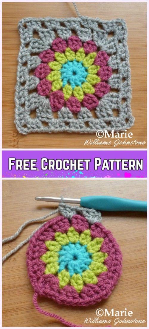 Crochet Sunburst Granny Square Blanket Free Pattern Crochet