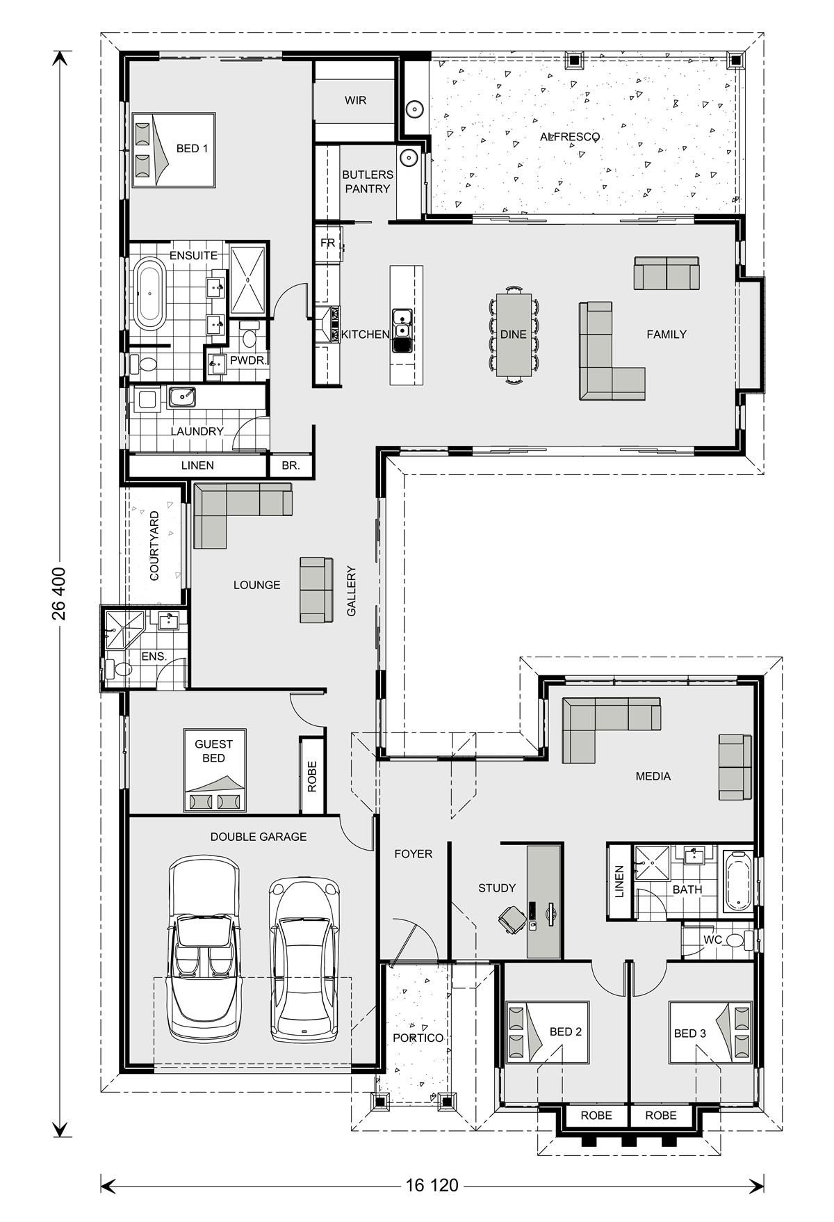 Mandalay 256 Our Designs New South Wales Builder Gj Gardner Homes New South Wales Floor Plans House Blueprints New House Plans