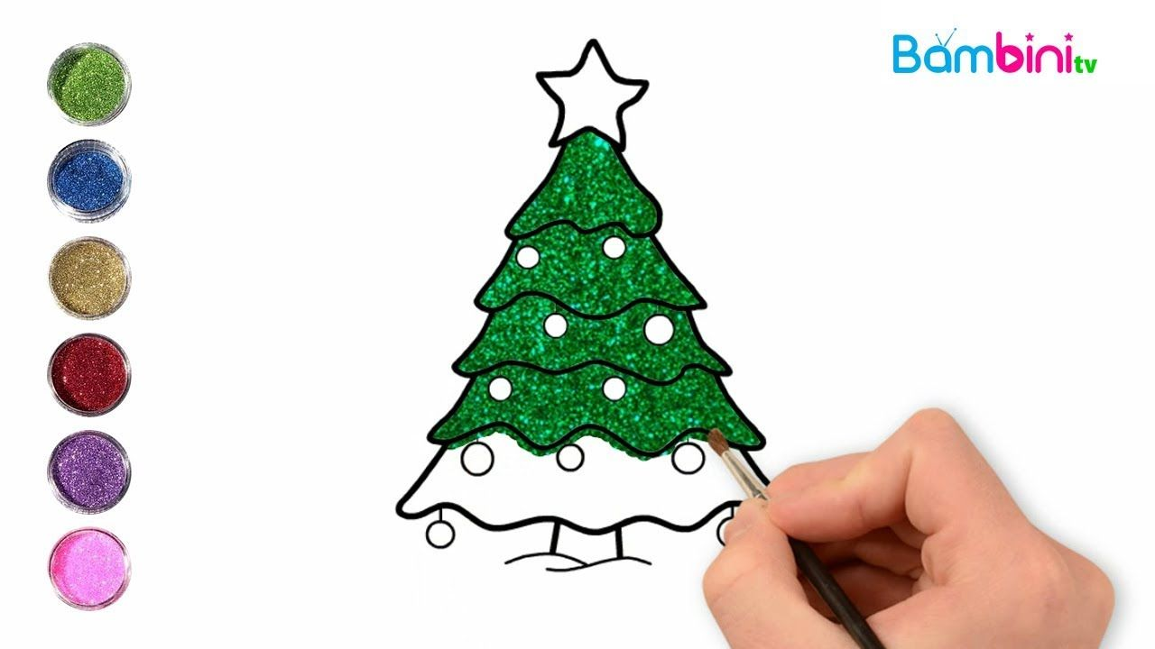 Glitter Christmas Tree Coloring And Drawing For Kids Coloring Page B Paper Craft Videos Glitter Christmas Coloring For Kids