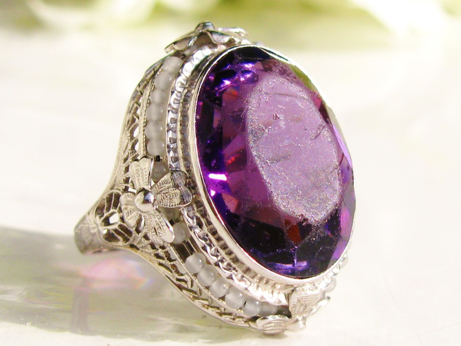 Vintage Engagement Ring 14.96ct Faux Amethyst & Pearl Ring