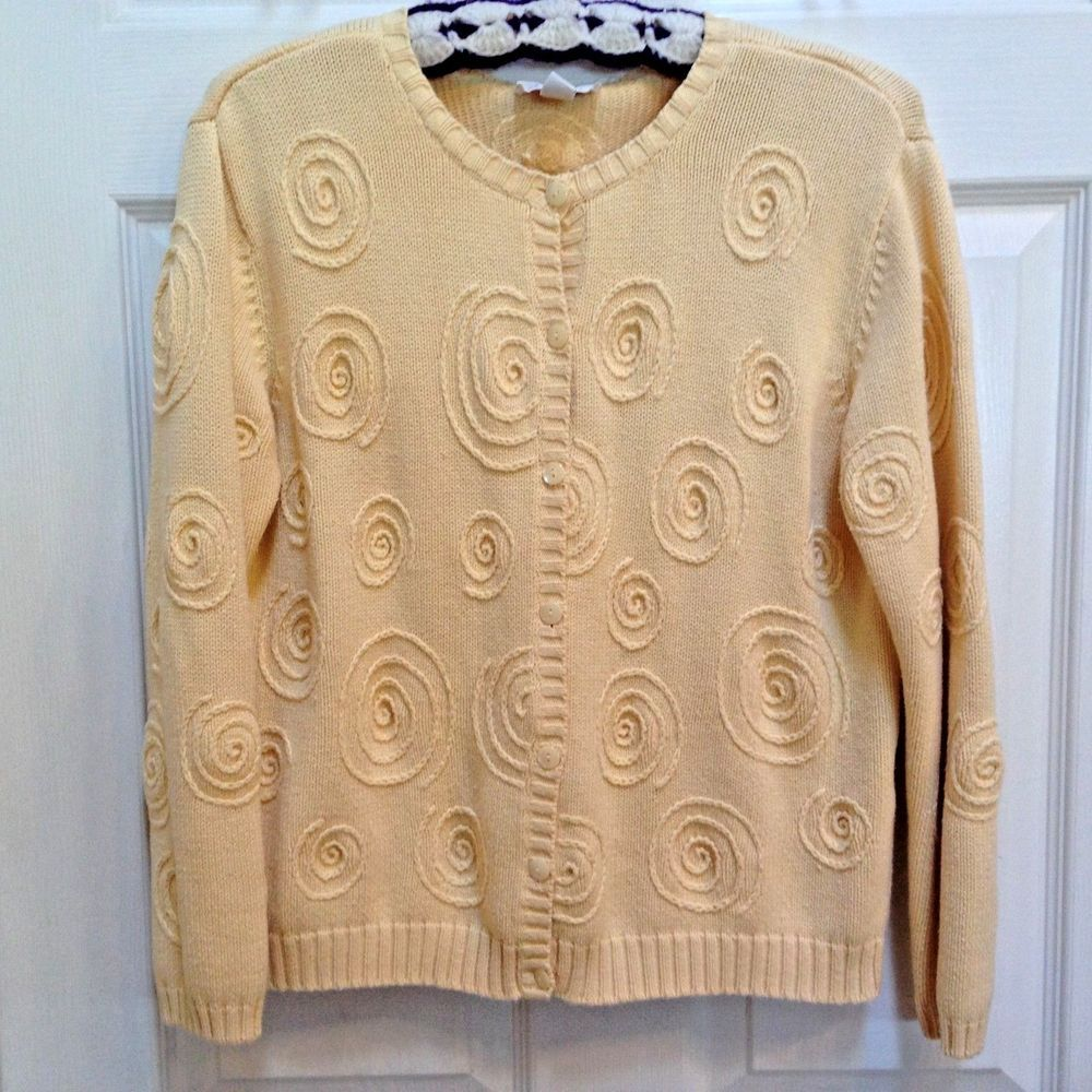 Details about Talbots Petites Yellow Sweater Cardigan Small Petite ...