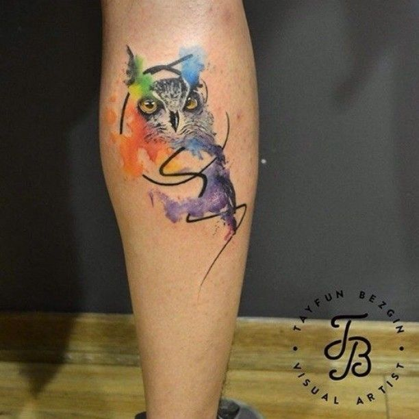 Owl Tattoo Leg Watercolor Owl Tattoos Owl Tattoo Small Owl