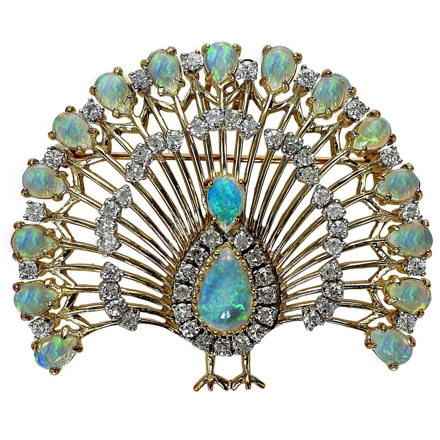 brooches and crystals pin peacock color com plaza multi pins brooch amazon fashion style dp jewelry vintage