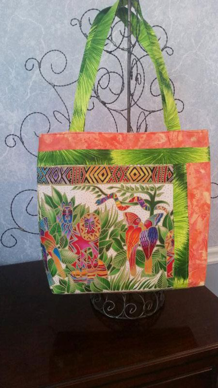 Quilted Jungle Print Bag by tokeepewewarm on Etsy