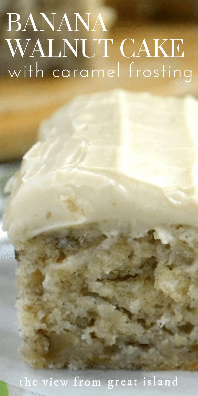Banana Walnut Cake with Caramel Frosting