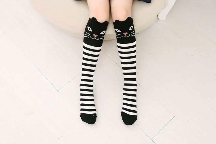 608ca80a5 1 pair Kids Toddlers Girls Knee High Socks School Cotton Girls Tights  Cartoon Boys Stockings for 0-4 years old
