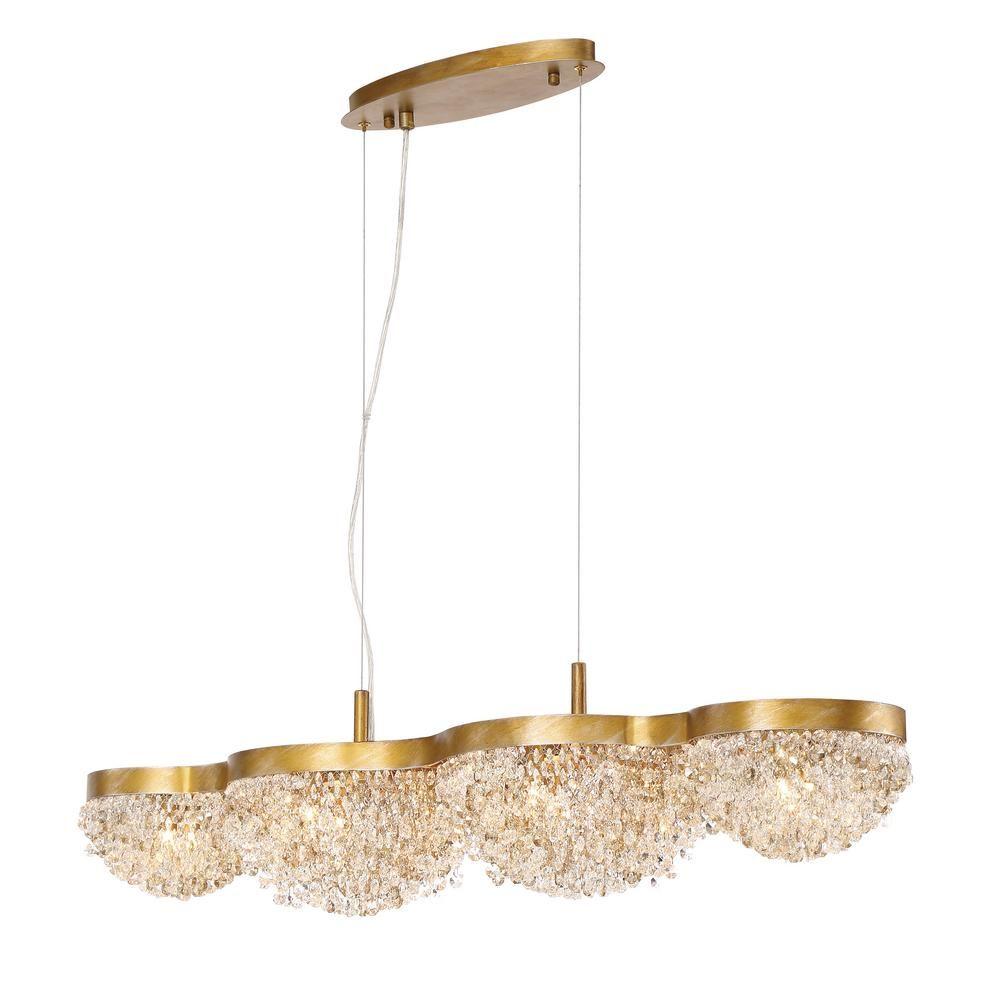 Eurofase mondo collection 10 light gold linear chandelier with eurofase mondo collection 10 light gold linear chandelier with clustered crystal shade arubaitofo Images