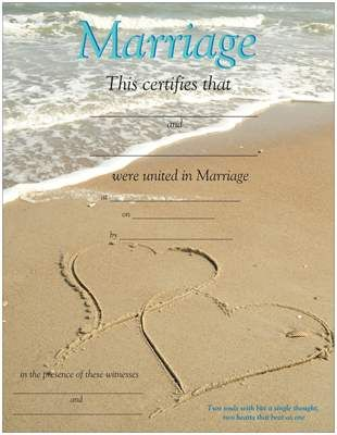 Beautiful Two Hearts in Sand Beach Marriage Wedding Certificate - marriage certificate