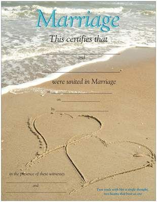 Free Printable  Beachy Keepsake Marriage Certificate  All Things