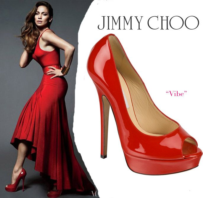 Jennifer Lopez is featured in the April 2012 issue of Vogue Magazine  wearing Jimmy Choo red Vibe platform peep-toe pumps.