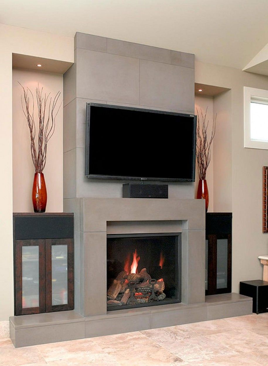 Chic Fireplace Surround Ideas With Big Screen TV Above In Contemporary Living Room Style