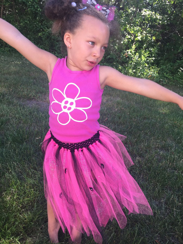 Little Girl Tutu, Pink And Black Tutu by CoconutCoutureDiva on Etsy
